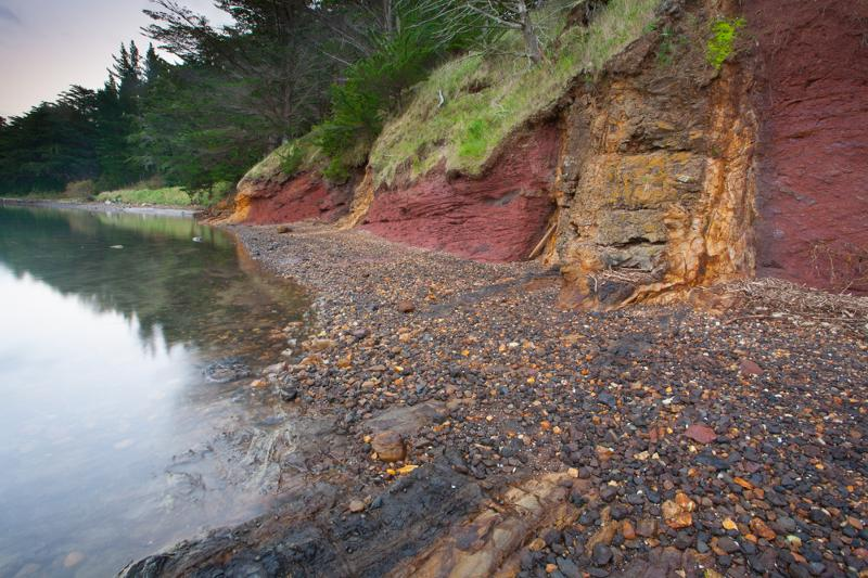Image #Yellow trachyte dike in red basalt. K Pedley/UC
