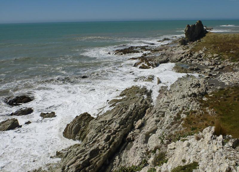 Image #Chancet rock before the Nov 2016 earthquake uplift. J.Thomson / GNS Science