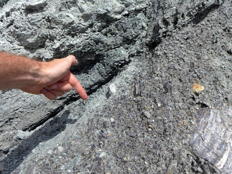 Image #Pointing out the Alpine Fault at Gaunt Creek, J.Thomson @ GNS Science