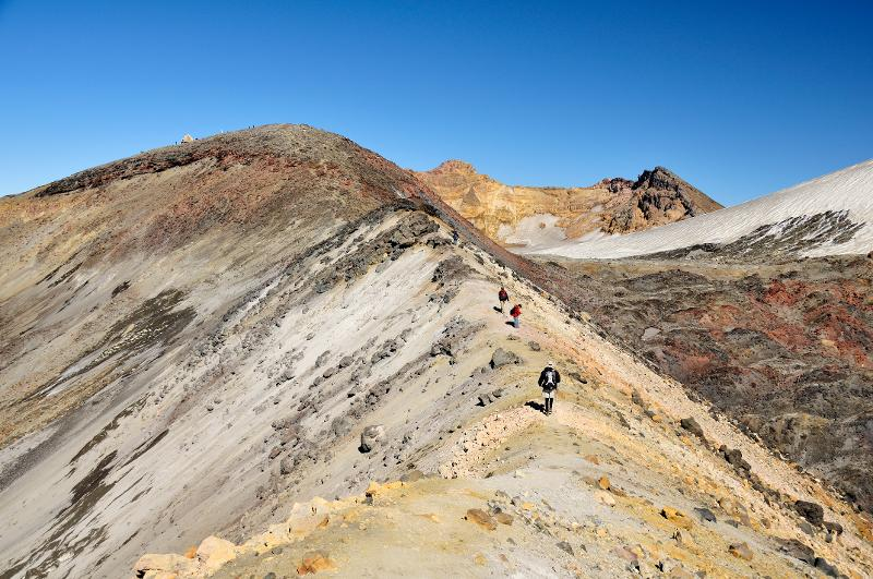 Image #Climbing along the dome ridge, Tahurangi Peak in the centre distance. D.Townsend / GNS